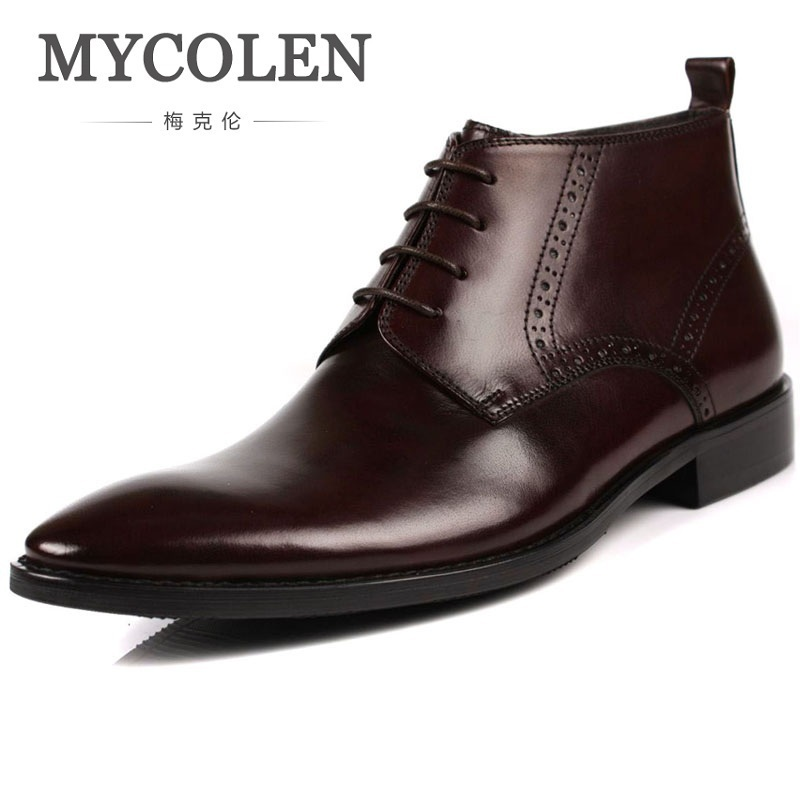 MYCOLEN British Style Men Shoes Autumn Winter Men Ankle Boots Motorcycle Martin Boots Genuine Leather Male Shoe Sapatenis Men mycolen 2017 fashion winter men boots british style working safety boots casual winter men shoes male black leather ankle boots