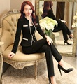 Formal Uniform Design Professional Eegant Black Spring And Autumn Blazers Ladies Office Pantsuits With Jackets And Pants Outfits