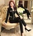 Uniforme de gala Diseño Eegant Profesional Negro de Primavera Y Otoño Blazers Señoras Trajes de Oficina Con Chaquetas Y Pantalones Conjuntos