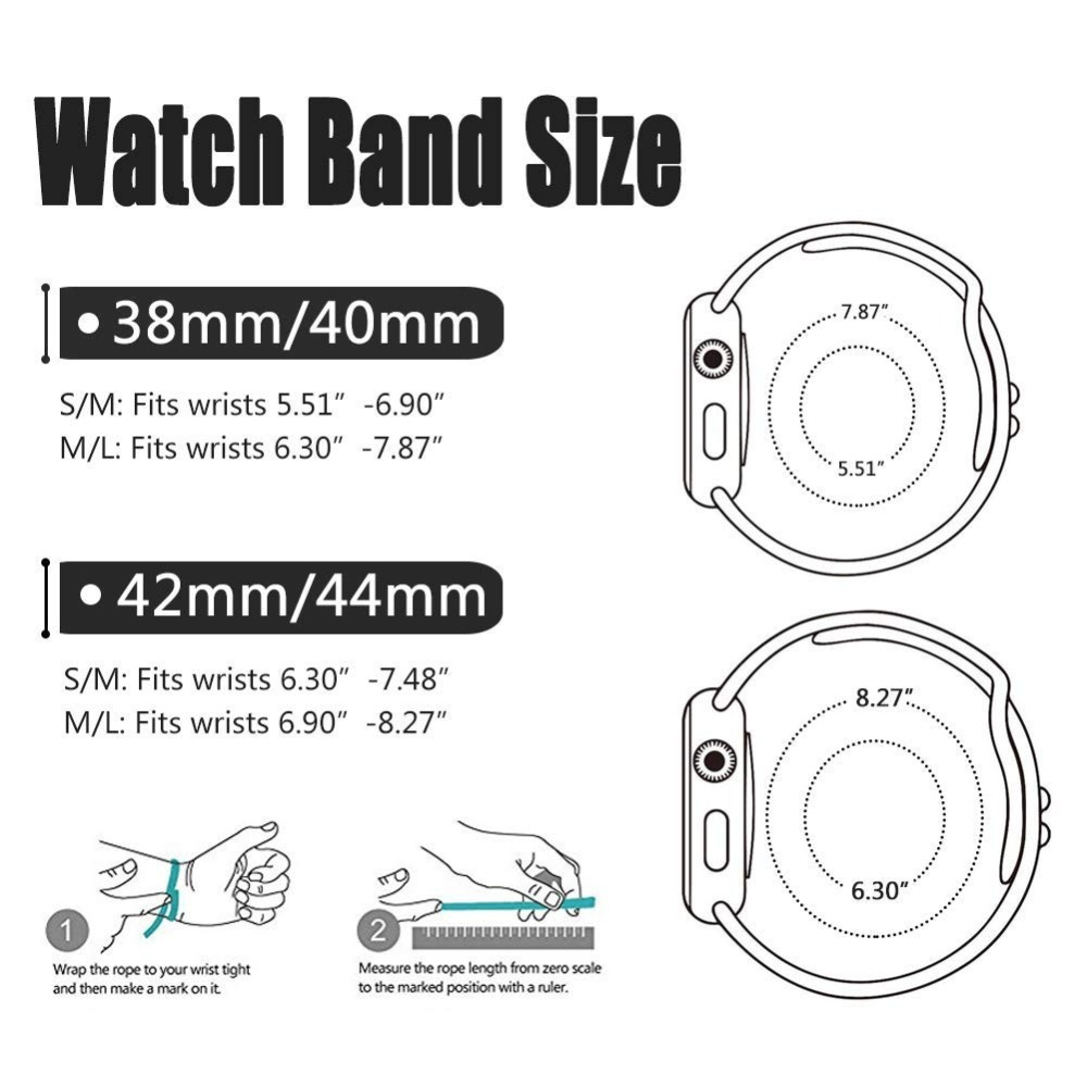 Silicone strap band for Apple Watch 42mm 38mm 44mm 40mm Rubber Bracelet Watchbands Black Straps Iwatch Series 4 3 2 1 Wristband in Watchbands from Watches