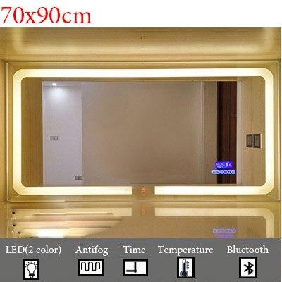 Умный светодиодный Зеркало для туалетной комнаты, анти-туман, сенсорный экран, настенное зеркало для макияжа, 700*900 мм, прямоугольные зеркальные зеркала с Bluetooth и музыкой - Цвет: M022C-700x900mm