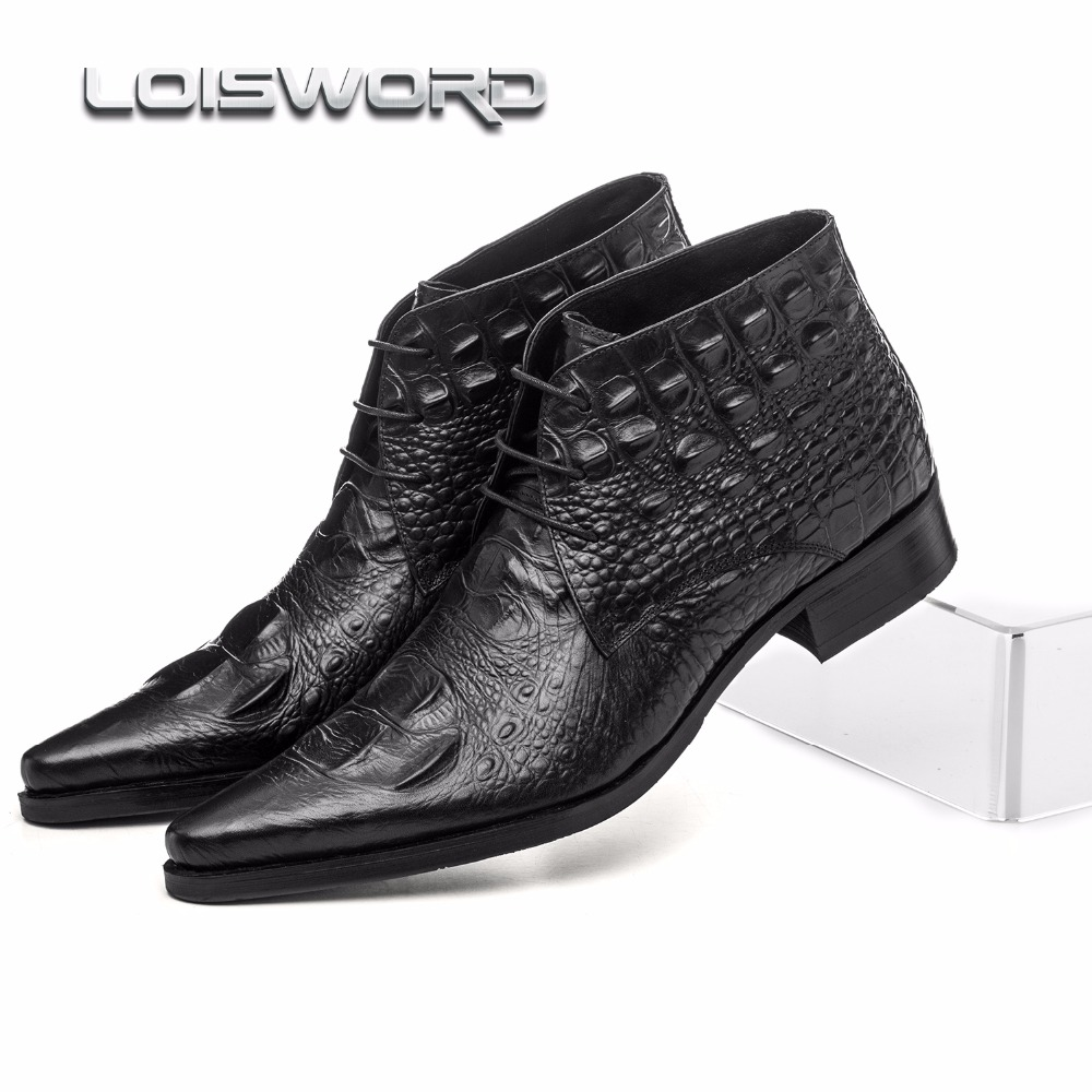 LOISWORD Large size EUR45 Crocodile Grain black /brown tan formal wedding shoes mens ankle boots genuine leather mens work shoes large size eur45 crocodile grain brown black derby mens dress shoes genuine leather wedding shoes casual mens business shoes