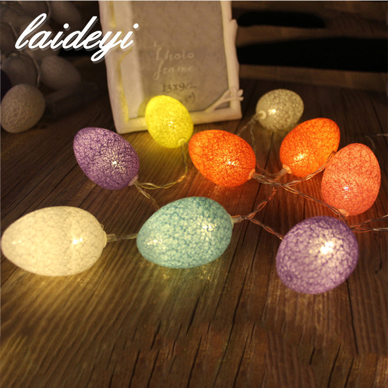 LAIDEYI 1.8M 10Pcs Easter Egg Led Light String Easter Wedding Party Decoration LED String Lights Battery Operated