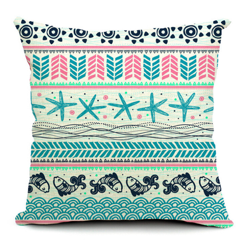 MYJ 2016 New Fashion Bohemian Geometric Printed Pillow Bed Home Decorative Throw Pillow Fundas Para print your name