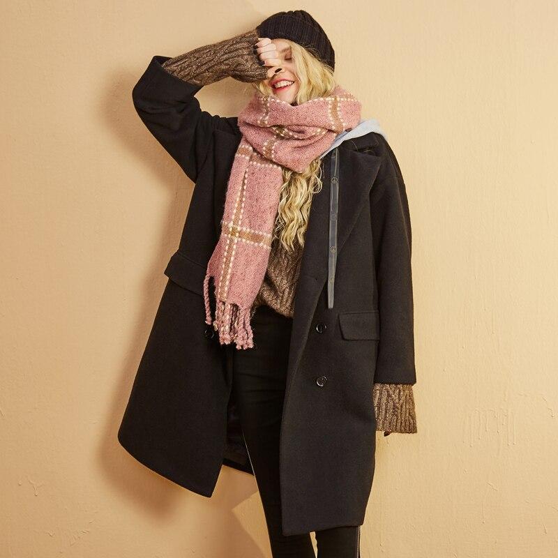 ELF zak 29.1% Wollen Jassen Vrouwen Winter Hooded Nep Twee Stukken Vrouwen Lange Jassen Losse Zakken Bovenkleding Vrouwelijke Casual Jassen-in Wol en mengsels van Dames Kleding op  Groep 2