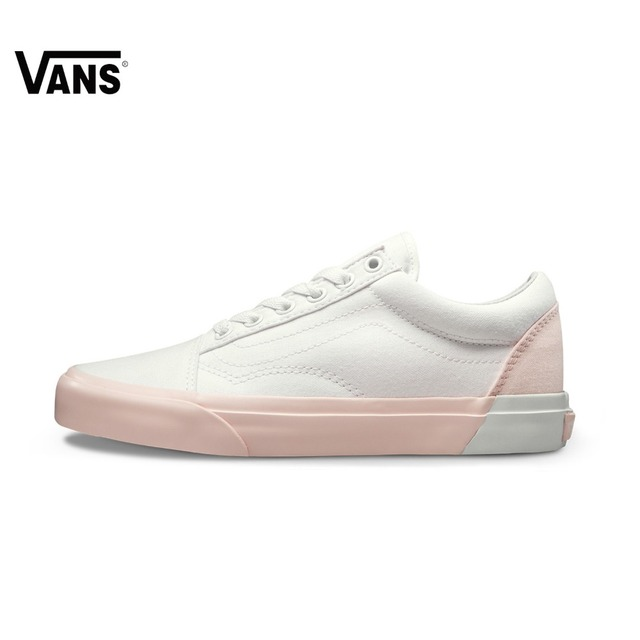 95236f93f8 Vans Old Skool Sneakers Pink White Low-top Trainers Women Sports  Skateboarding Shoes Breathable Classic