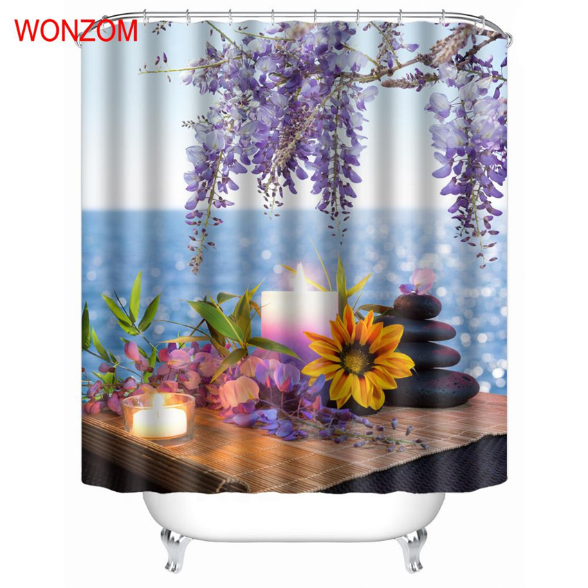 WONZOM Stone Waterproof Shower Curtain Serenity Bathroom Decor Elegant Flower Decoration Cortina De Bano 2017 Bath Curtain Gift