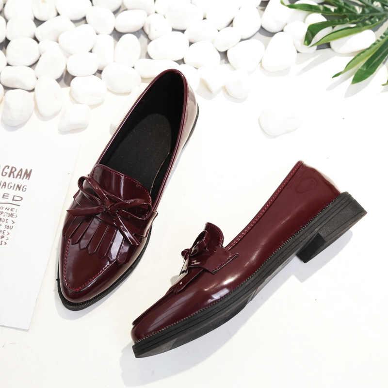 Marke Schuhe Frau Casual Quaste Bogen Spitz Schwarz Oxford Schuhe für Frauen Wohnungen Komfortable Slip auf Frauen Schuhe Freies geschenk