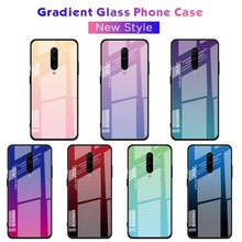 Luxury Glossy Gradient Tempered Glass Phone Cases For OnePlus 7 Pro Soft Edge Shockproof Back Cover For Oneplus 6 6T Cases Coque