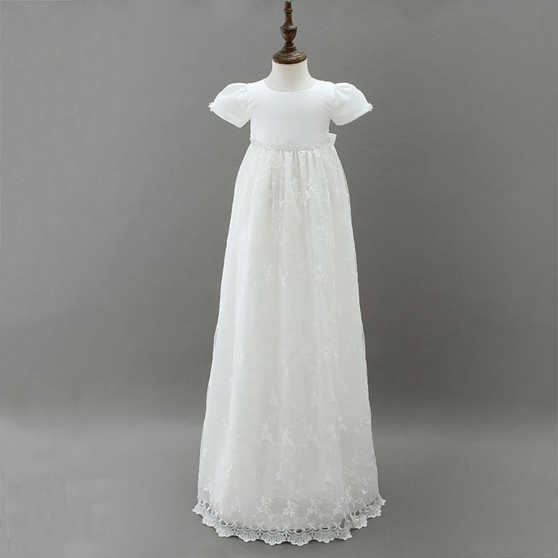 2018 Lengthen European Baptism Dress Baby Girl Birthday Wedding Dress Princess Dress white lace long dresses for new born kids
