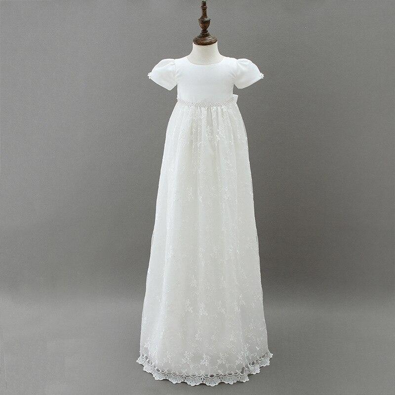 2018 allonger robe de baptême européenne bébé fille anniversaire robe de mariée robe de princesse blanc dentelle longues robes pour les nouveaux nés enfants