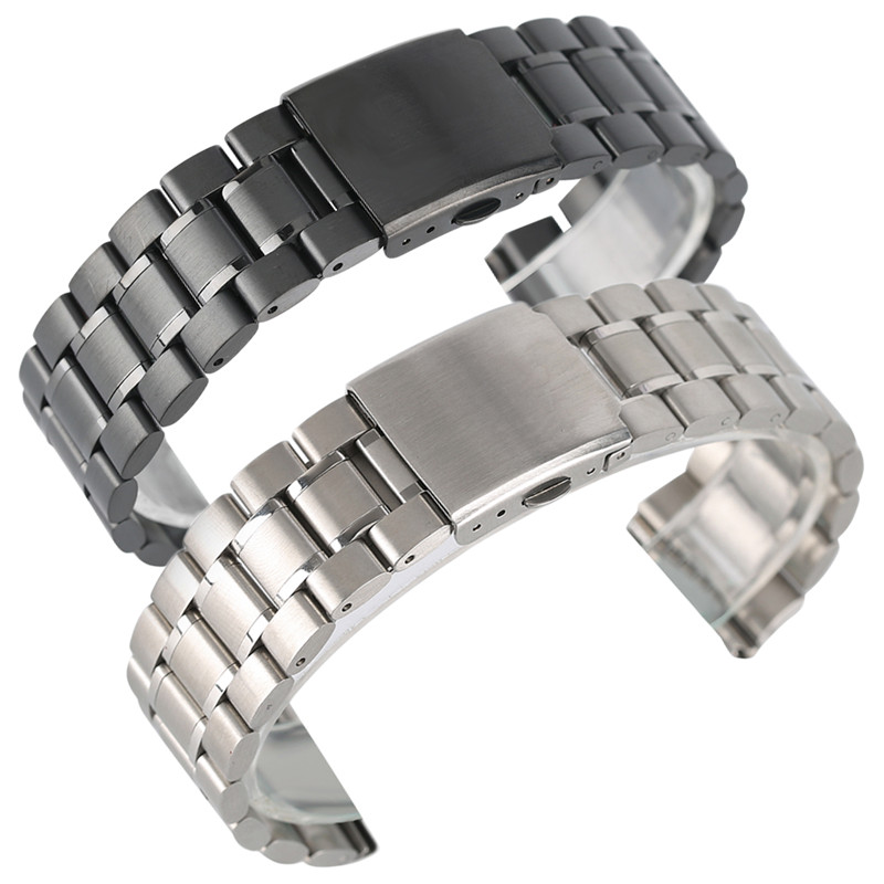22mm Stainless Steel Watch Band Black/Silver Adjustable Watchband 2.0cm Width Bracelet Clasp High Quality for Business Watch