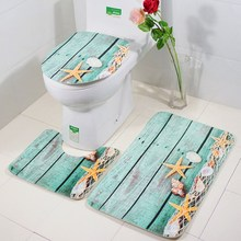 цена на 3Pcs/Set Bathroom Mat Set Mediterranean Flannel Floor Rugs Cushion Toilet Seat Cover Bath Mat for Home Decoration