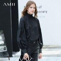 Amii Minimalist Women Blouse 2018 Office Solid Beading Puff Sleeve Turtleneck Female White Black Shirts Tops
