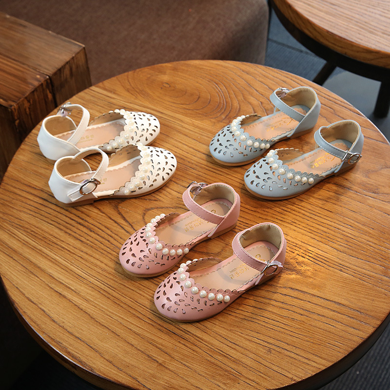 2018 summer new fashion hollow white pearl bag head pink girls fashion sandals kids party shoes children boys sandals kids