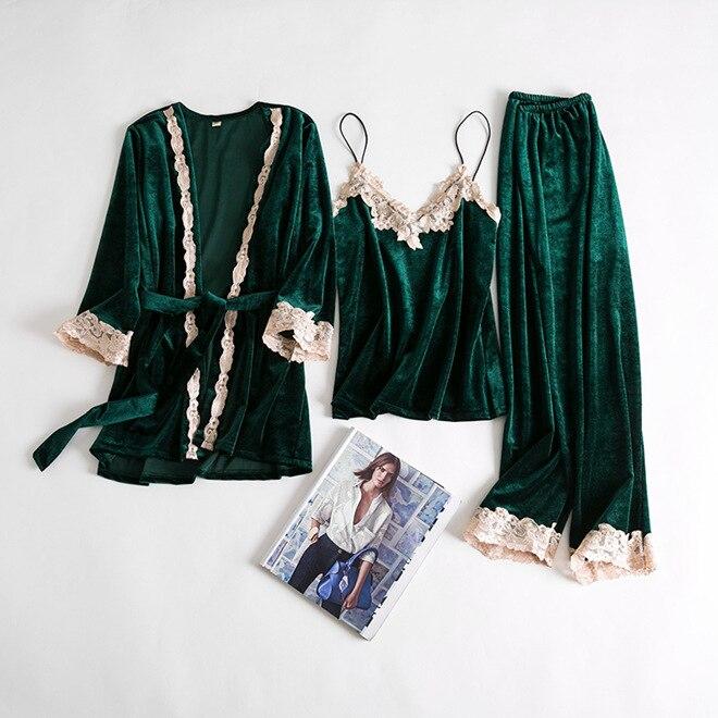 3PCS Cami&Pant&Robe Velvet Sleepwear Solid Women Warm Lace Pajamas Pijamas Suit Fashion Soft Home Wear Nightwear Set Negligee