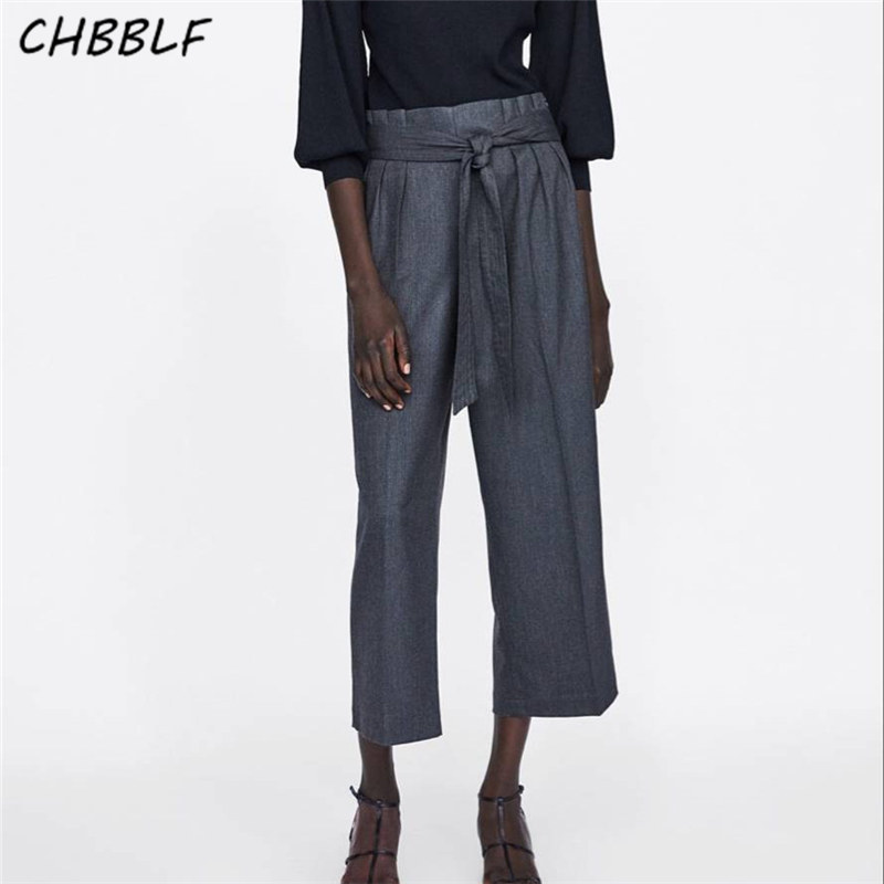 CHBBLF women casual solid   wide     leg     pants   bow tie sashes vintage female casual trousers pantalones NHN1301