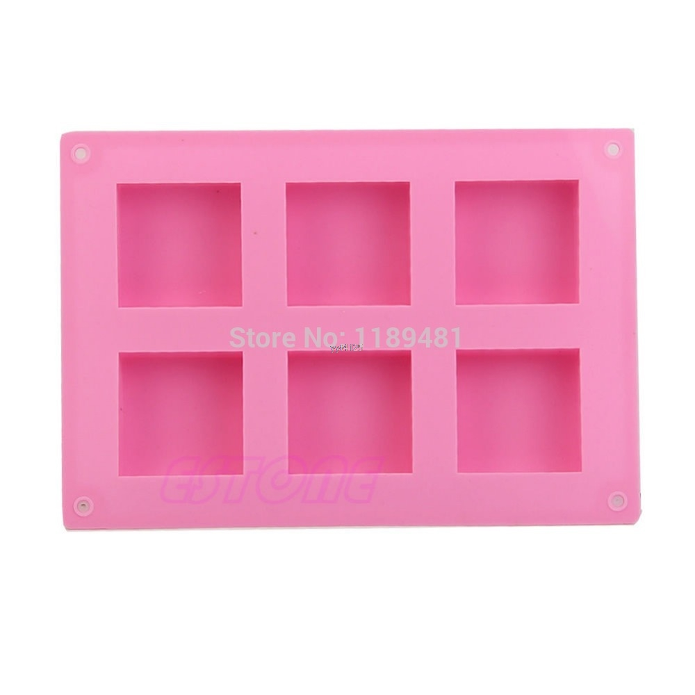Six-Square Silicone Mould Ice Cube Tray Cake Muffin Soap Cupcake DIY Molds Mar