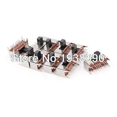 10 Pcs Panel PCB 16 Pin 3 Position 4P3T Mini Slide Switch Side Knob 0.5A 50V DC