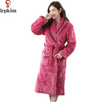 Warm Women's Solid Color Cotton Robe Full Sleeve Flannel Polyester Sleep Lounge Robes Bathrobe Bridesmaids Robes S XXL SY569