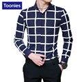 Мужские Рубашки Повседневные Slim Fit Новый Бренд-clothing Бизнес Плед Мужчины Рубашка Однобортный Camisa Социальной Masculina Плюс Размер рубашки