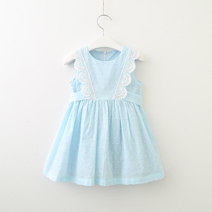 Hurave encaje de algodón infantil bebé niñas ropa de niños sin mangas cuello redondo vestido causal cordón vestidos