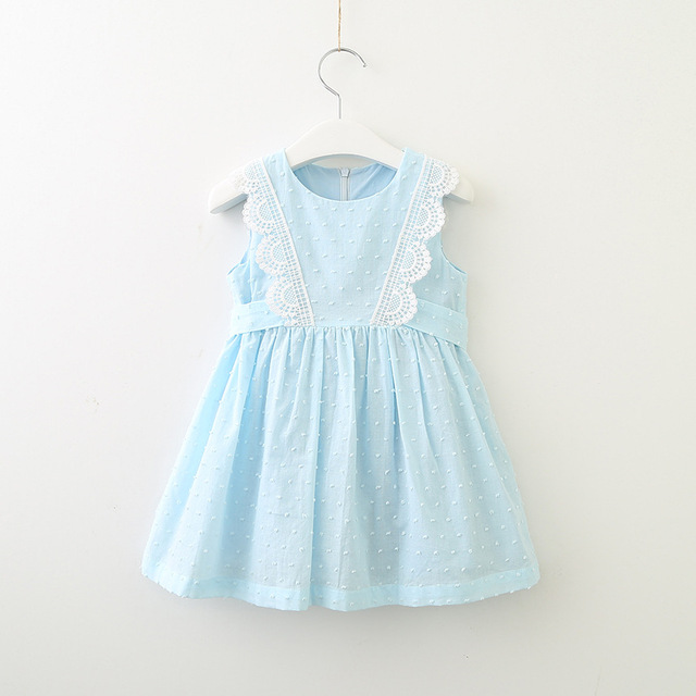 09ac1ef5a US $6.93 30% OFF|Hurave lace work solid cotton infant Baby Girls Clothes  Children Sleeveless Crew Neck dress causal drawstring dresses-in Dresses  from ...