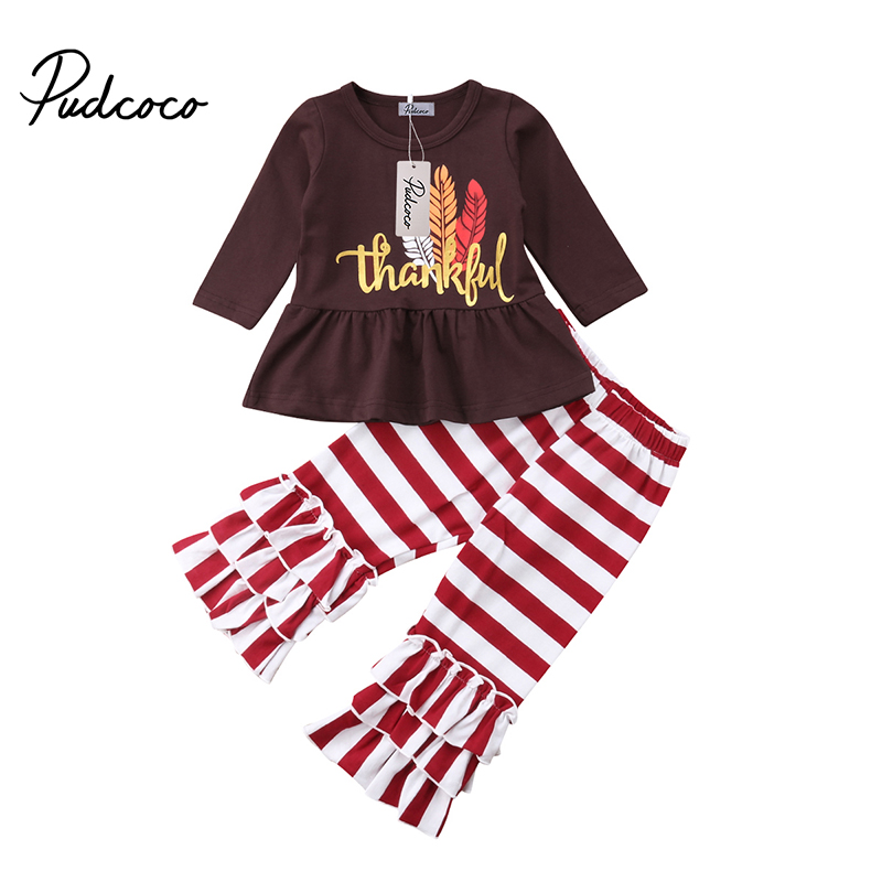 Pudcoco Kids Baby Girl Thanksgiving Clothes Set Letter Print T-Shirt Stripe Pants Leggings Outfits Winter Boutique Clothing print t shirt pants