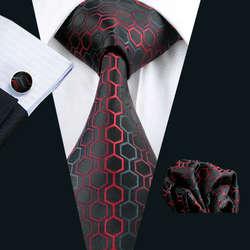 LS-584 Для мужчин s Галстуки 100% шелк жаккард Тканые красные шелковые галстуки для Для мужчин свадебные Бизнес вечерние Hankerchief запонки шеи