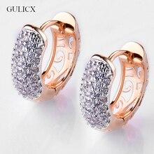 GULICX круглые серьги со стразами для женщин золотого цвета серьги-кольца CZ камень кубический цирконий серьги Винтажные Ювелирные изделия E133