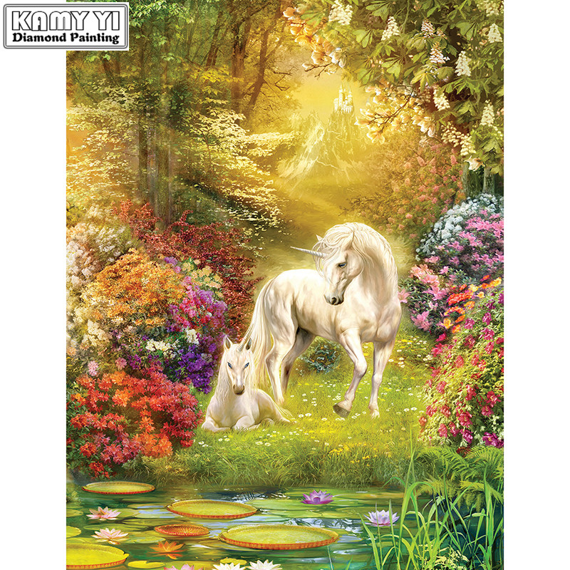 Diamond Embroidery Painting-Decoration Unicorn Cross-Stitch Full-Square/round Mosaic