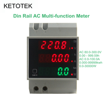 KetoteK Digital 0-100.0A Ammeter AC 80-300V Voltmeter Led Display Amp Volt Energy Power Meter Active Watt Meter Factor Monitor