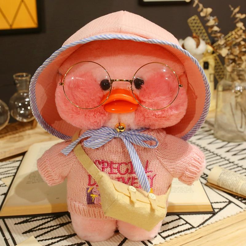 Kawaii 30cm LaLafanfan Cafe Duck Plush Toy Cute Pink Duck Stuffed Doll Soft Animal Dolls Kids Toys Birthday Gift For Children
