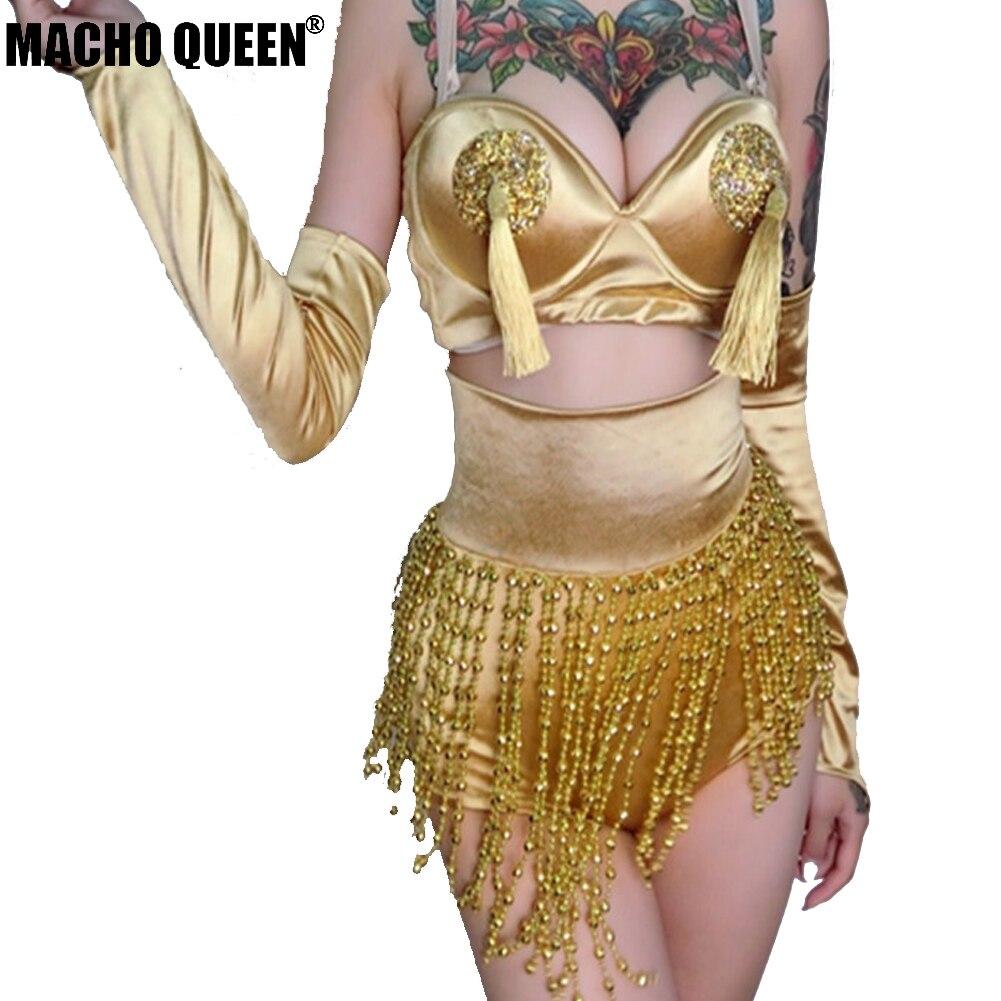 Rave Booty Donne Scena Photo Vita A Sexy Di Set Vestiti Outfit Oro Top Alta Fetival Crop Cantante Costume Fringer Imposta As 3 Pezzo 7Ygy6vbf