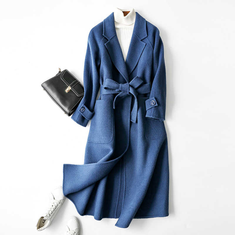 KMETRAM Woman Natural Wool Coats Winter 2019 New Ladies Double-sided Cashmere Slim Long Jacket Alpaca Korean Belt Coat MY530