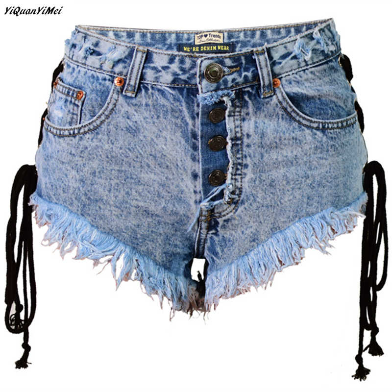 652d8c329cbab2 ... summer womens denim shorts denim shorts women jeans shorts sexy denim  short pants Drawstring ripped jeans ...