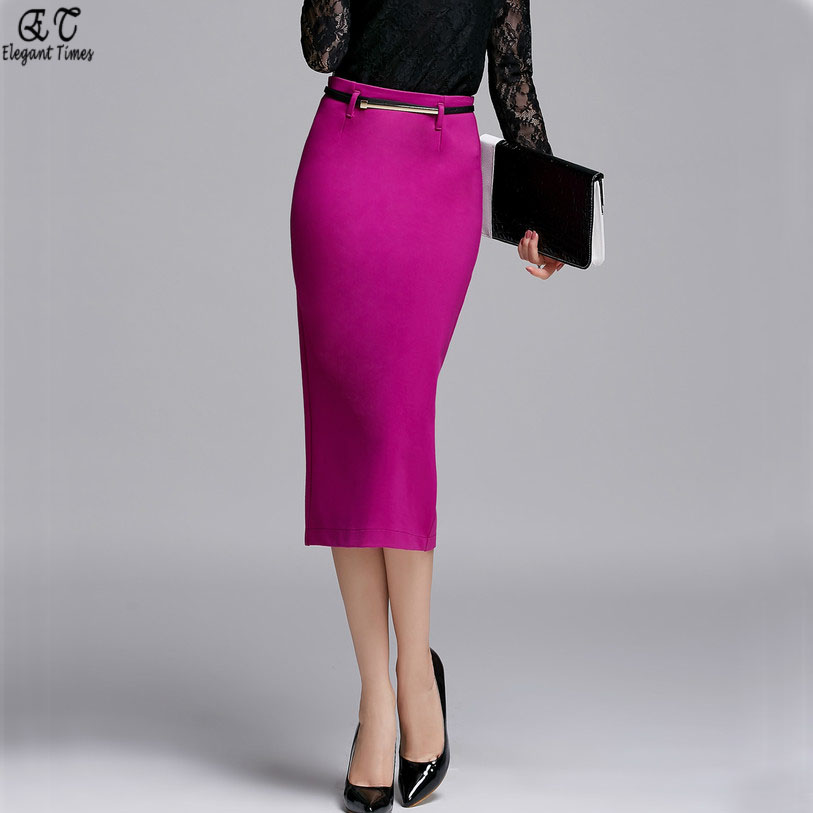 Aliexpress.com : Buy 2016 Black Purple Midi Long Ladies Office ...