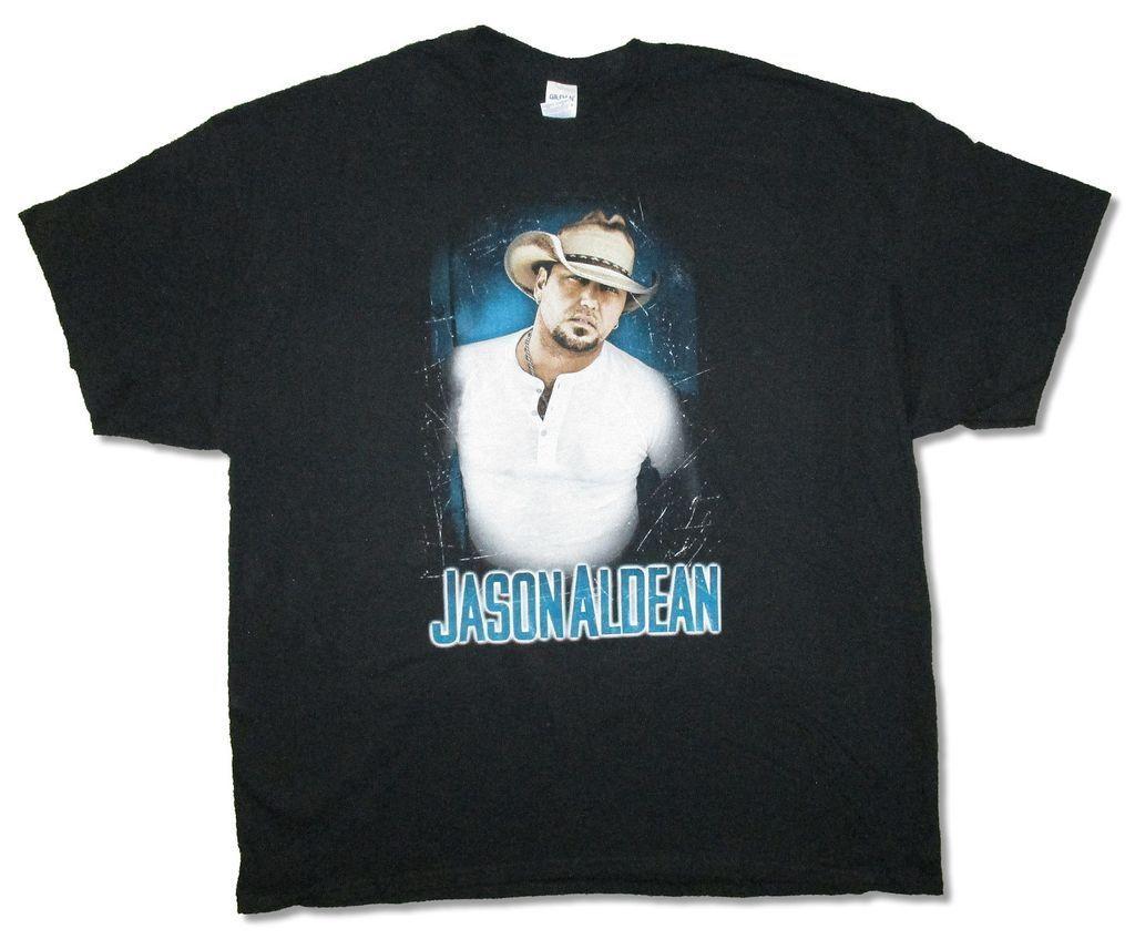 Jason Aldean Henley Photo Burn It Down Tour 2015 Black T Shirt New Official