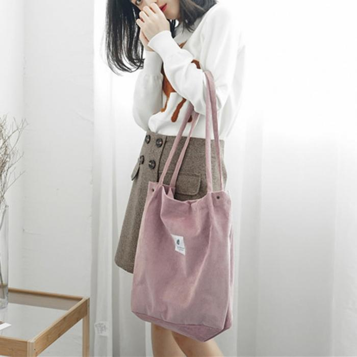 High Capacity Women Corduroy Tote Ladies Casual Shoulder Bag Foldable Reusable Shopping Beach Bag WML99 18