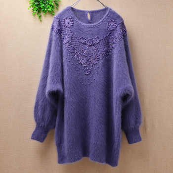 femme top mujer winter vintage beading crochet angora rabbit fur knitted o-neck loose long bat sleeves basic pullover sweater