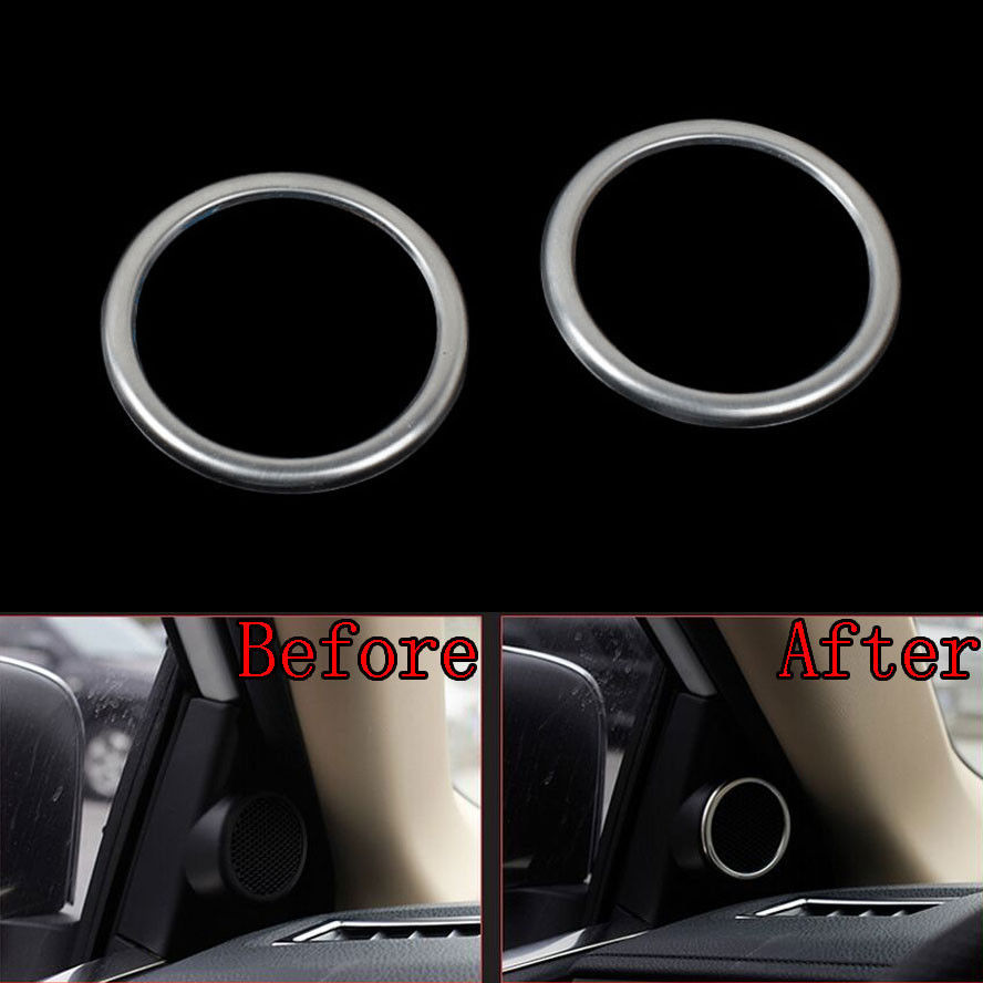 2x Chrome Stainless Car Door Stereo Speaker Frame Cover Trim Styling Sticker Fit For Toyota Corolla 2014 Car decal Accessary