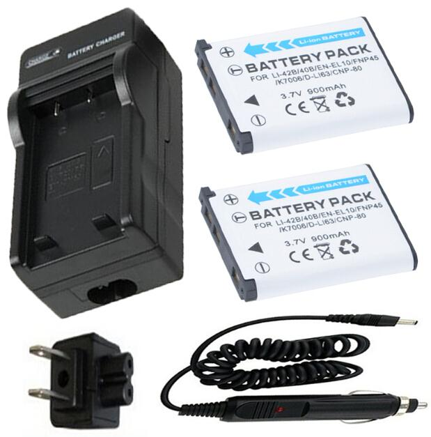 2 Battery Charger for Fujifilm FinePix T190 T200 T205 T300 T305 T310 T350 T360 T400 T410