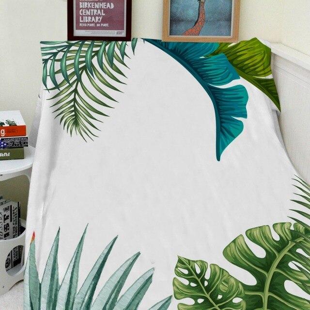 Mantas Cobertor Calidez Felpa Suave Verde Planta Tropical Palm ...
