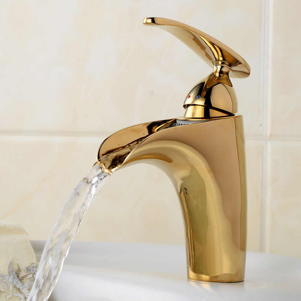 Newest Gilded Design Crane Waterfall Bathroom Basin Faucet High ...