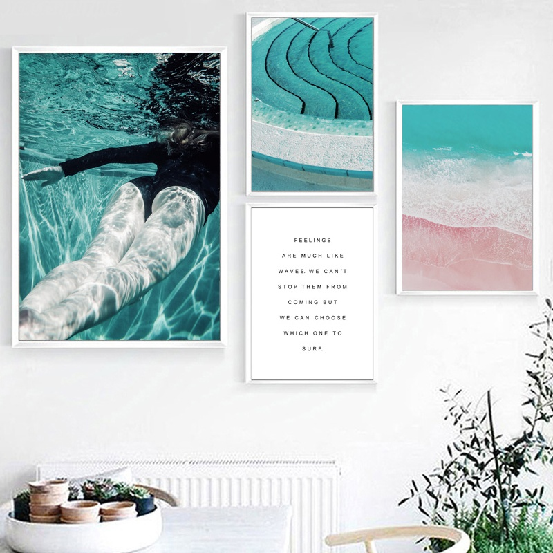 US $3.23 43% OFF|Girl Swimming Pool Blue Sea Beach Landscape Wall Art  Canvas Painting Nordic Posters And Prints Wall Pictures For Living Room-in  ...