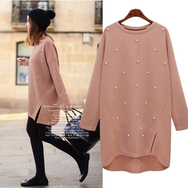 c6b99124e8 Spring Autumn Long Sweater Women Pearl Beading Knitted Pullover Solid Jumper  Casual Loose Sweater Plus Size XL-5XL Tricot C6604