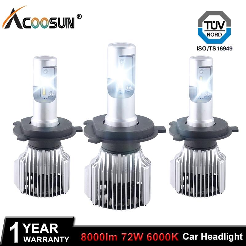 Acoosun H4 H7 LED المصباح السيارات 12V H1 - أضواء السيارة