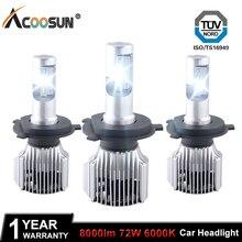 Acoosun H4 H7 светодиодные фары автомобиля 12 В H1 автомобили свет H8 H11 HB3 9005 HB4 9006 9012 9007 H13 8000LM для Volkswagen toyota. и т. д.