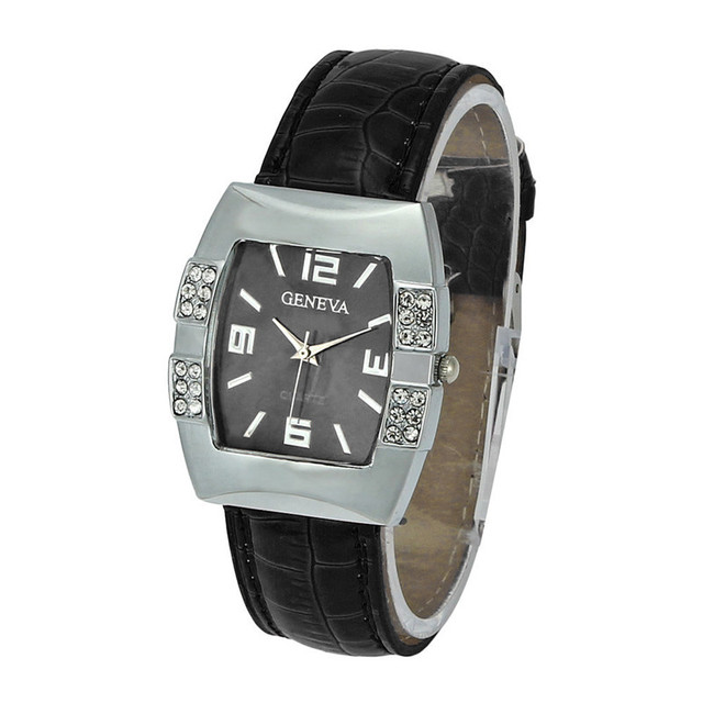 Geneva Women Square Surface Crystal Quartz Analog Wrist Watch Dress Fashion Watc