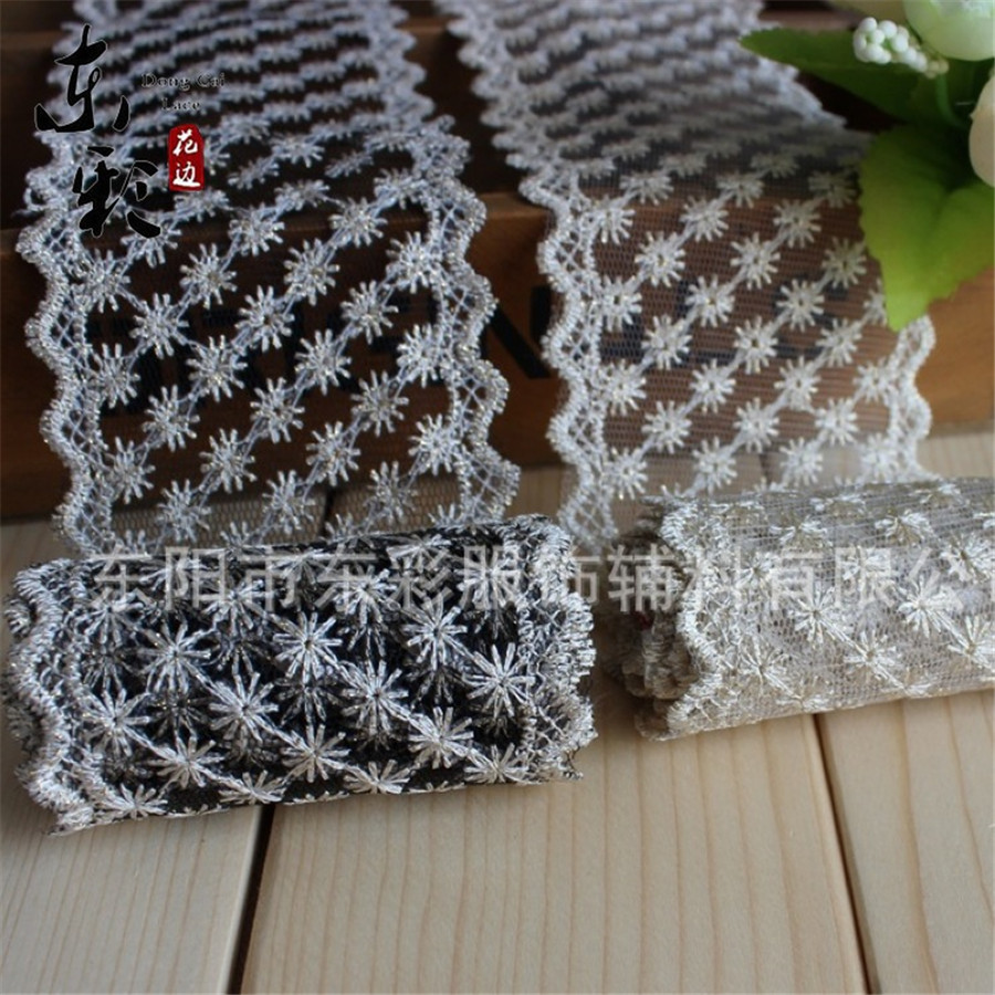 ⊱14yard*7cm Embroidery Cotton Lace Ribbon Gold Wire Organza Lace ...